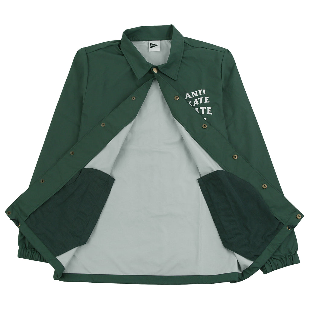 Bored of Southsea Anti Skate Club Coaches Jacket in Forest Green - Open