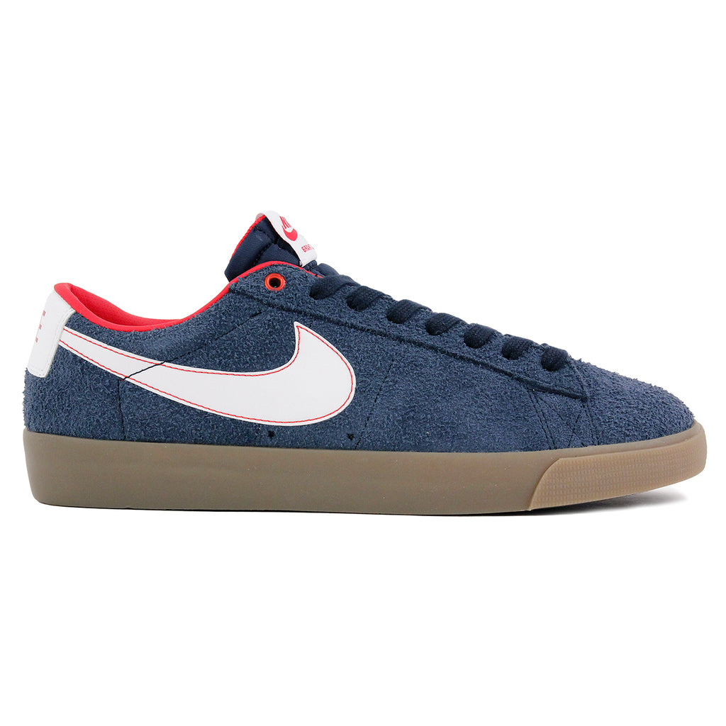 Nike SB Blazer Low Grant Taylor Shoes in Obsidian / White-University Red-Gum Light Brown