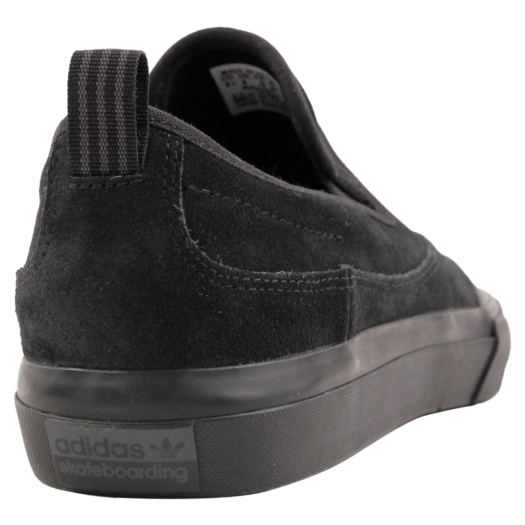 Adidas Skateboarding Matchcourt Slip Shoe in Core Black / Core Black / Dark Grey Solid Grey - Heel