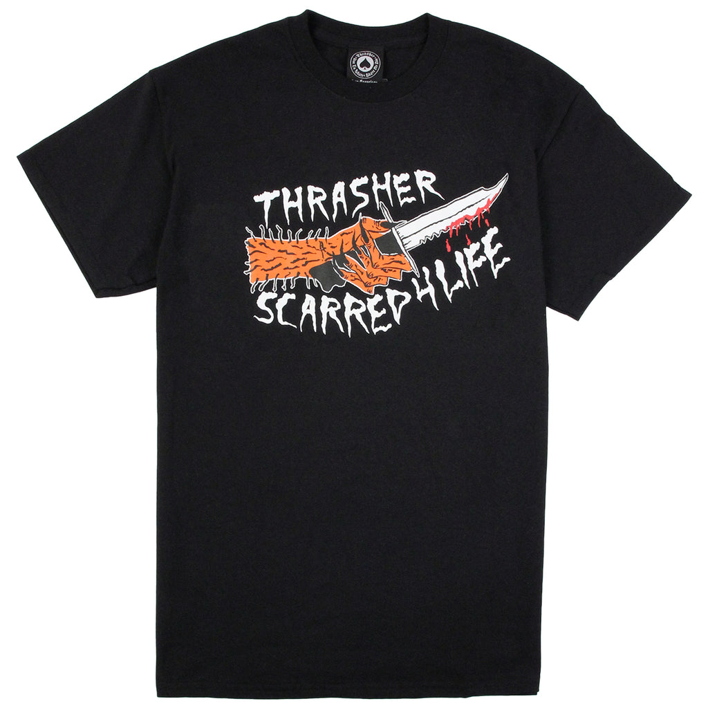 Thrasher Scarred 4 Life T Shirt in Black