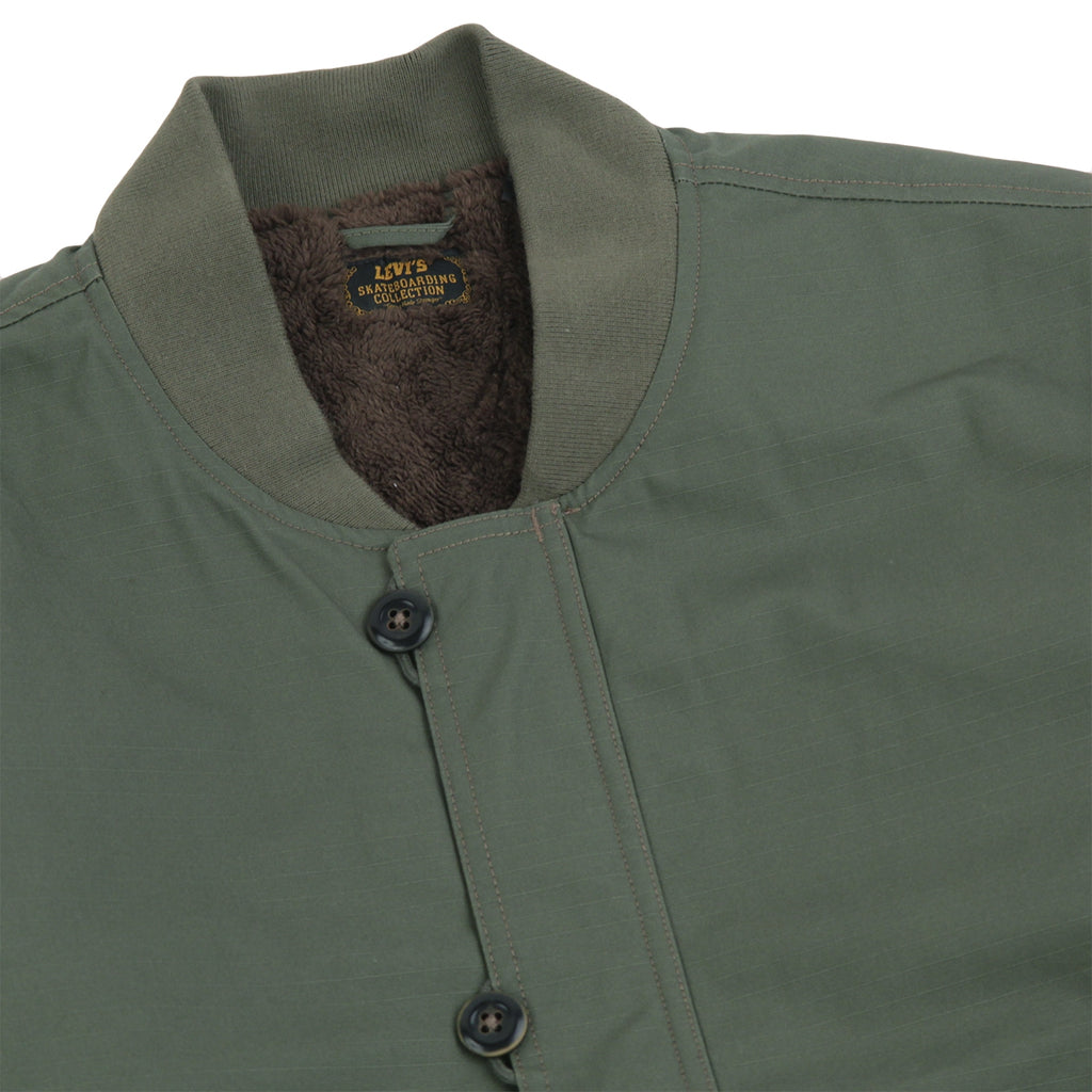 Levis Skateboarding Skate Pile Jacket in Olive Night - Detail