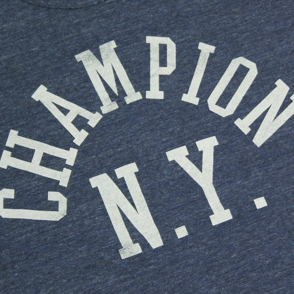 Champion Crew Neck T Shirt in Melange Blue - Print