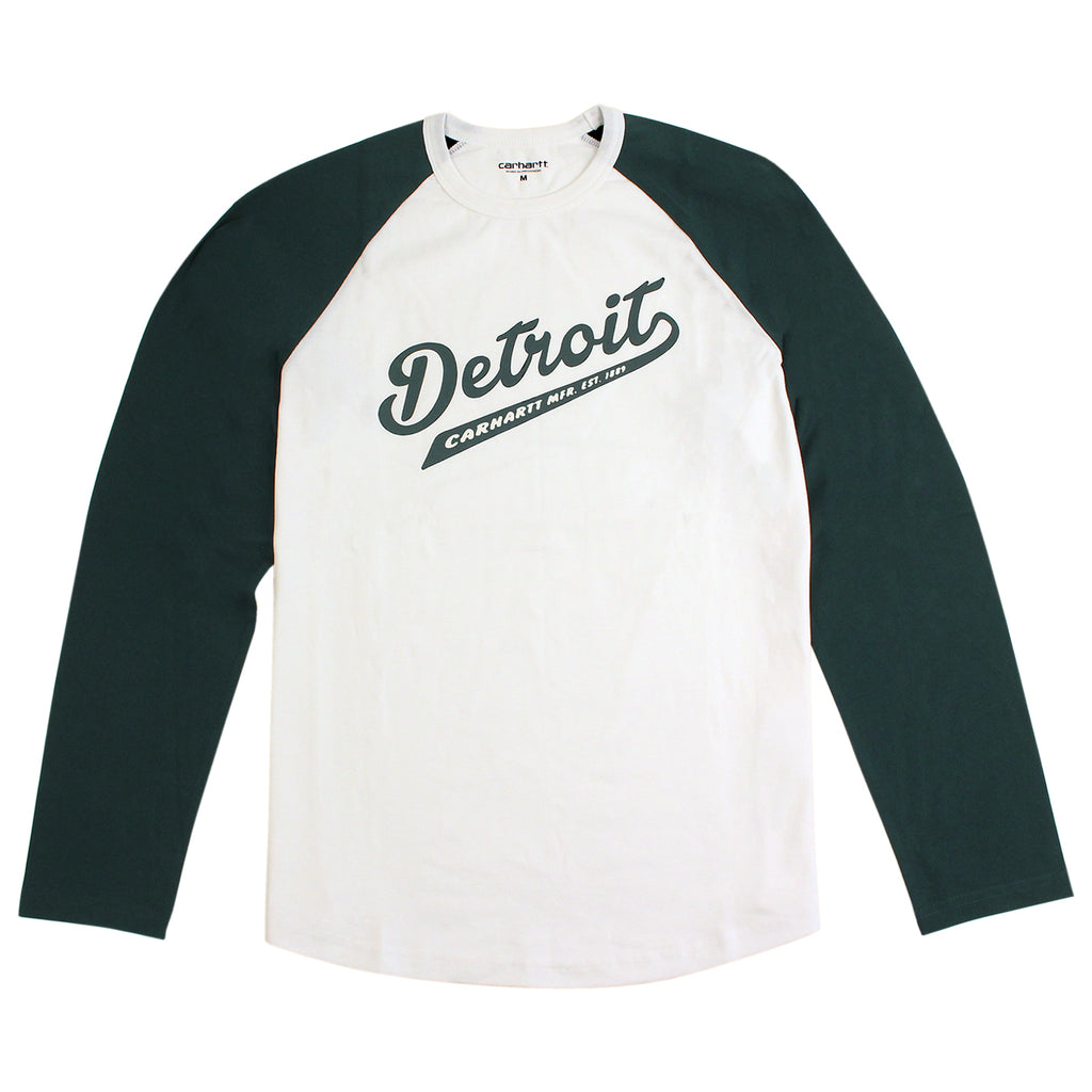 Carhartt WIP Detroit Script L/S T Shirt in White / Parsley