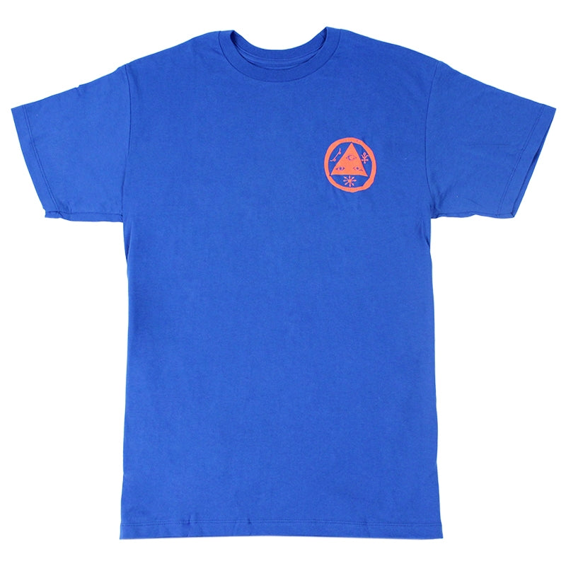 Welcome Skateboards Talisman T Shirt in Royal Blue/Coral