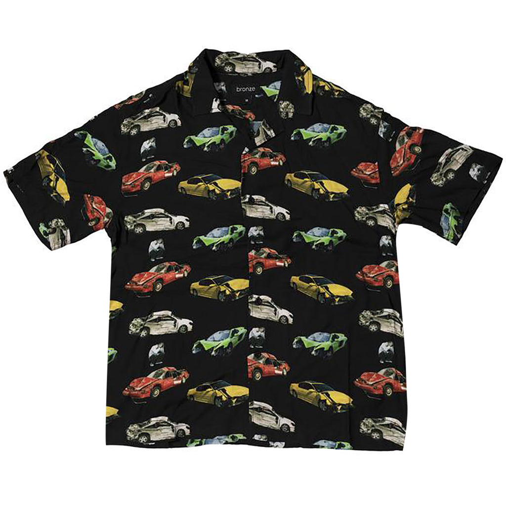 Bronze 56k Wrecked Cars Button Up Shirt in Black