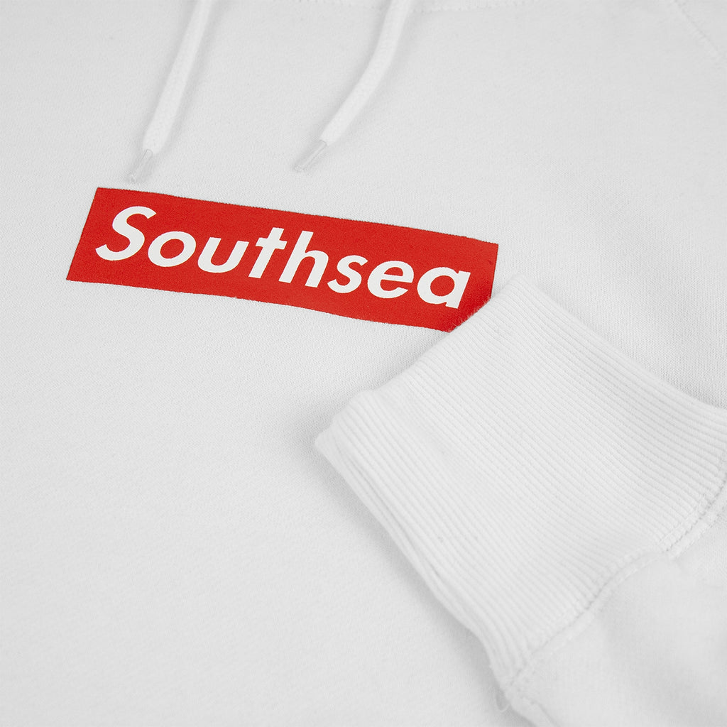 "Bored of Southsea ""Southsea"" Hoodie in White / Red Box - Print detail"