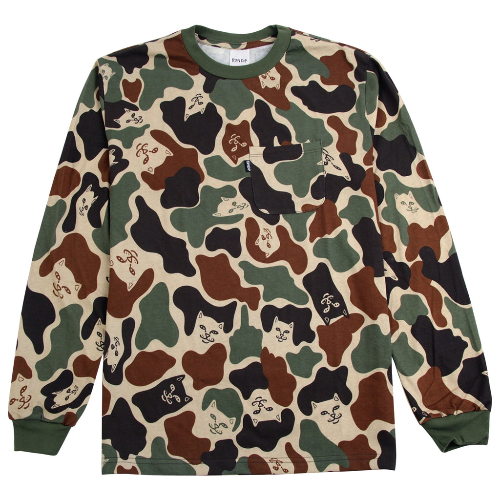 RIPNDIP L/S Lord Nermal T Shirt in Army Camo