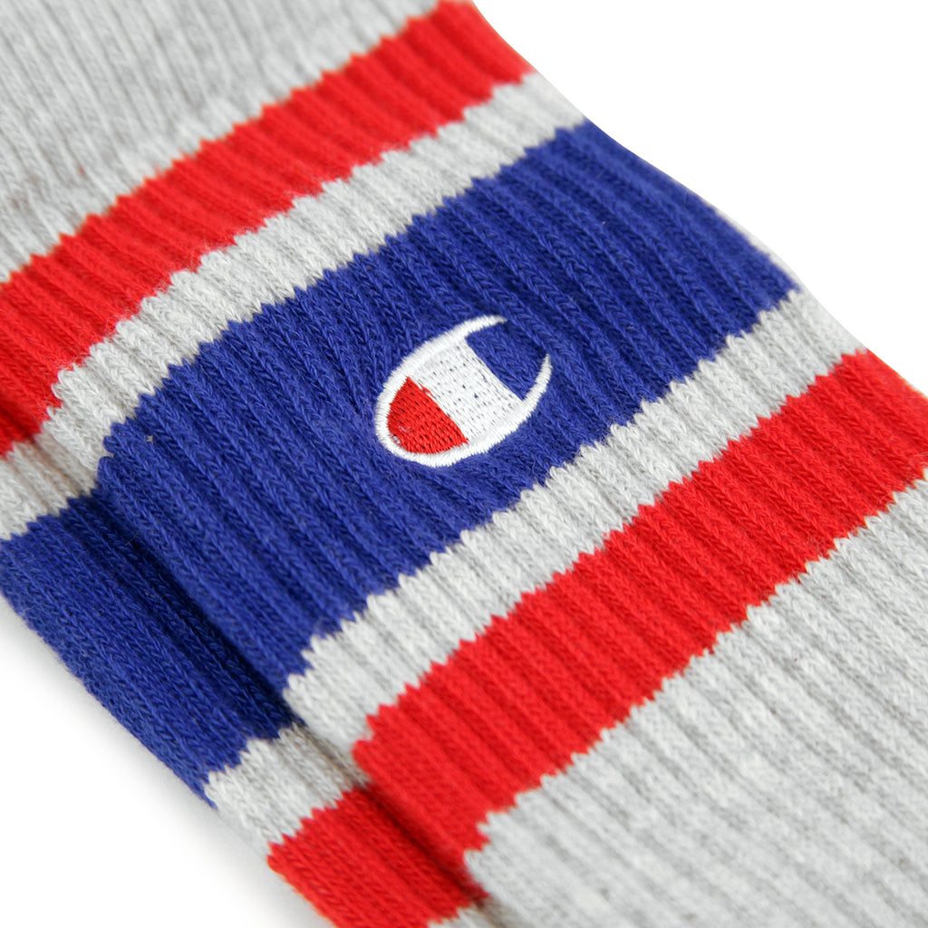 Champion Reverse Weave Athletic Socks in Oxford Grey / Blue / Red - Embroidery