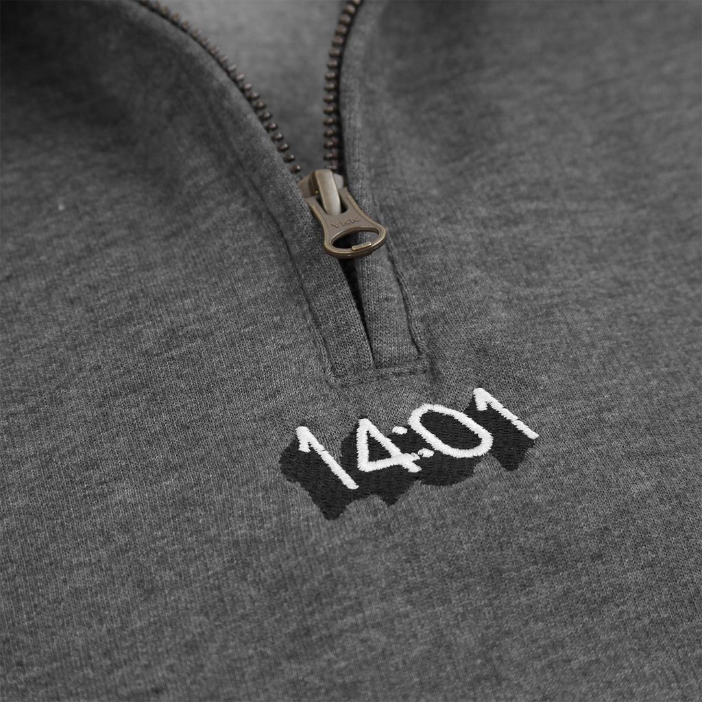 14:01 Skateboard Co Logo Quarter Zip Sweatshirt in Dark Grey Heather - Embroidery