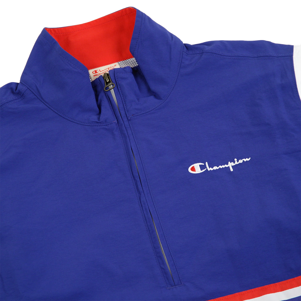 Champion Reverse Weave Half Zip Track Top in Red / Blue / White - Detail