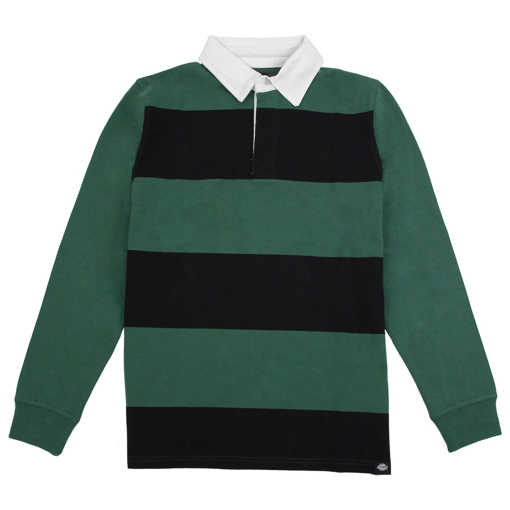 Dickies Cedar Key Rugby Shirt in Bottle Green / White