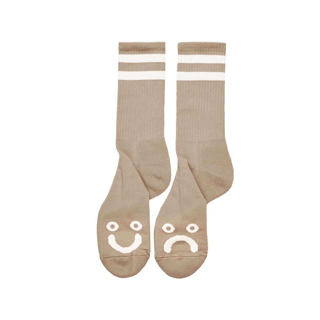 Polar Skate Co Happy Sad Socks in Sand