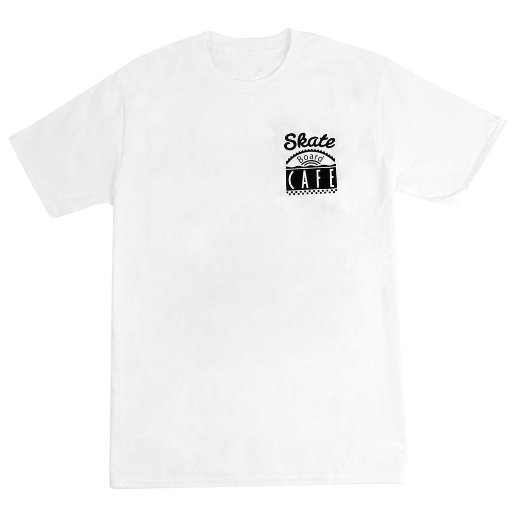Skateboard Cafe Diner T Shirt in White - Front