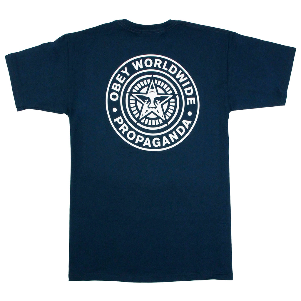 Obey Clothing Obey Worldwide Seal T Shirt in Navy
