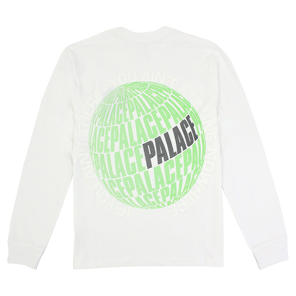 Palace If You Ain't There L/S T Shirt in White - Back