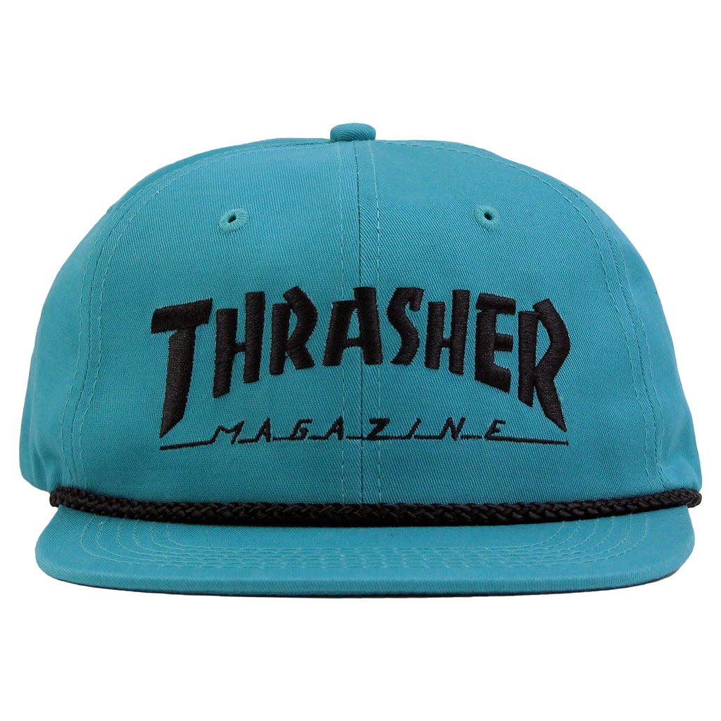 Thrasher Rope Snapback Cap in Teal / Black - Front
