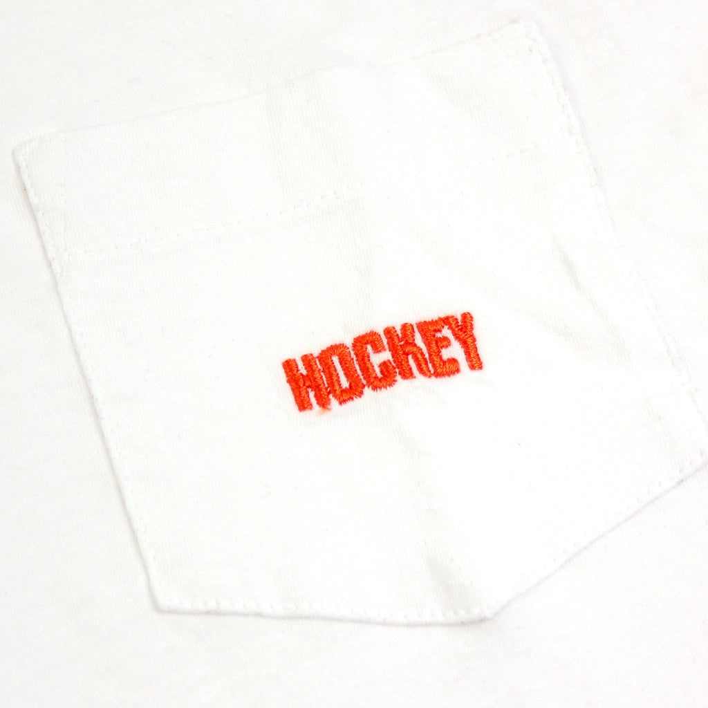 Hockey Skateboards Logo Pocket T Shirt in White - Embroidery