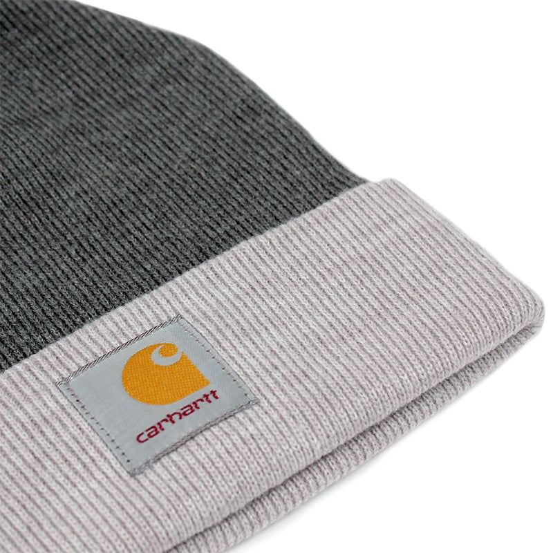 Carhartt Britt Beanie in Dark Grey Heather / Grey Heather - Detail
