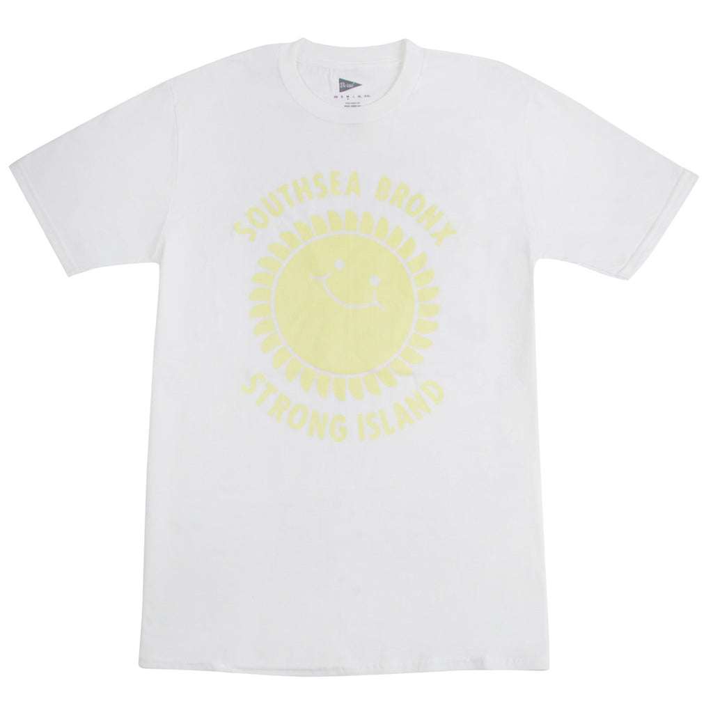 Southsea Bronx Strong Island T Shirt in White / Pastel Yellow