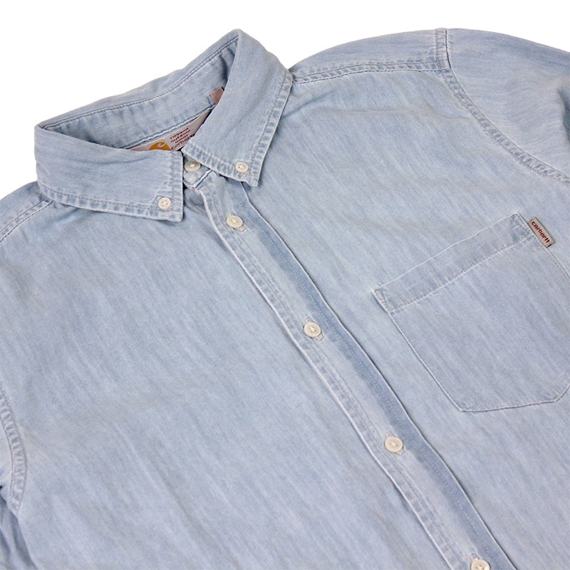 Civil L/S Shirt in Blue Stone Washed by Carhartt - Detail