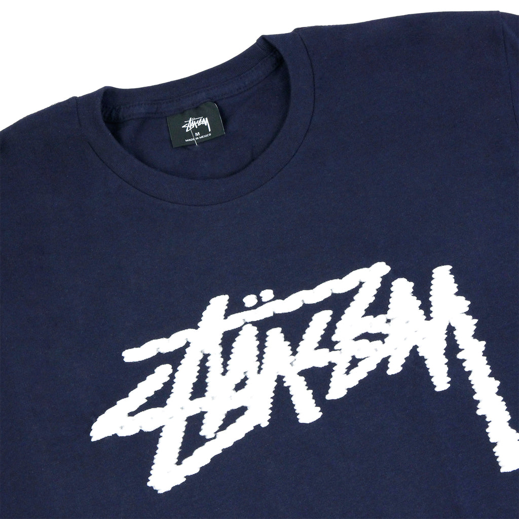Stussy Label Stock T Shirt in Navy - Detail