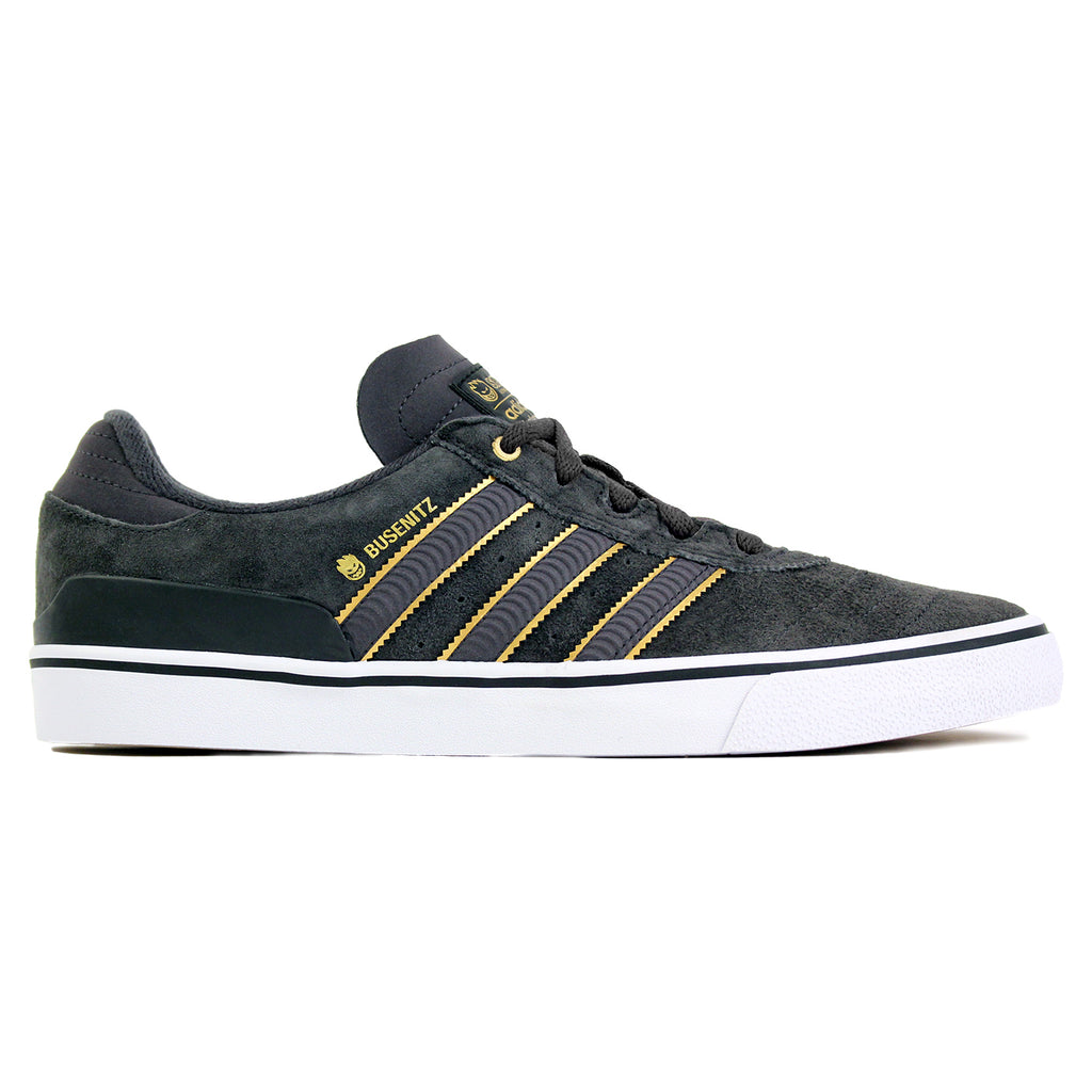 Adidas Skateboarding x Spitfire Busenitz Vulc Shoes in Carbon/Carbon/Gold Metallic