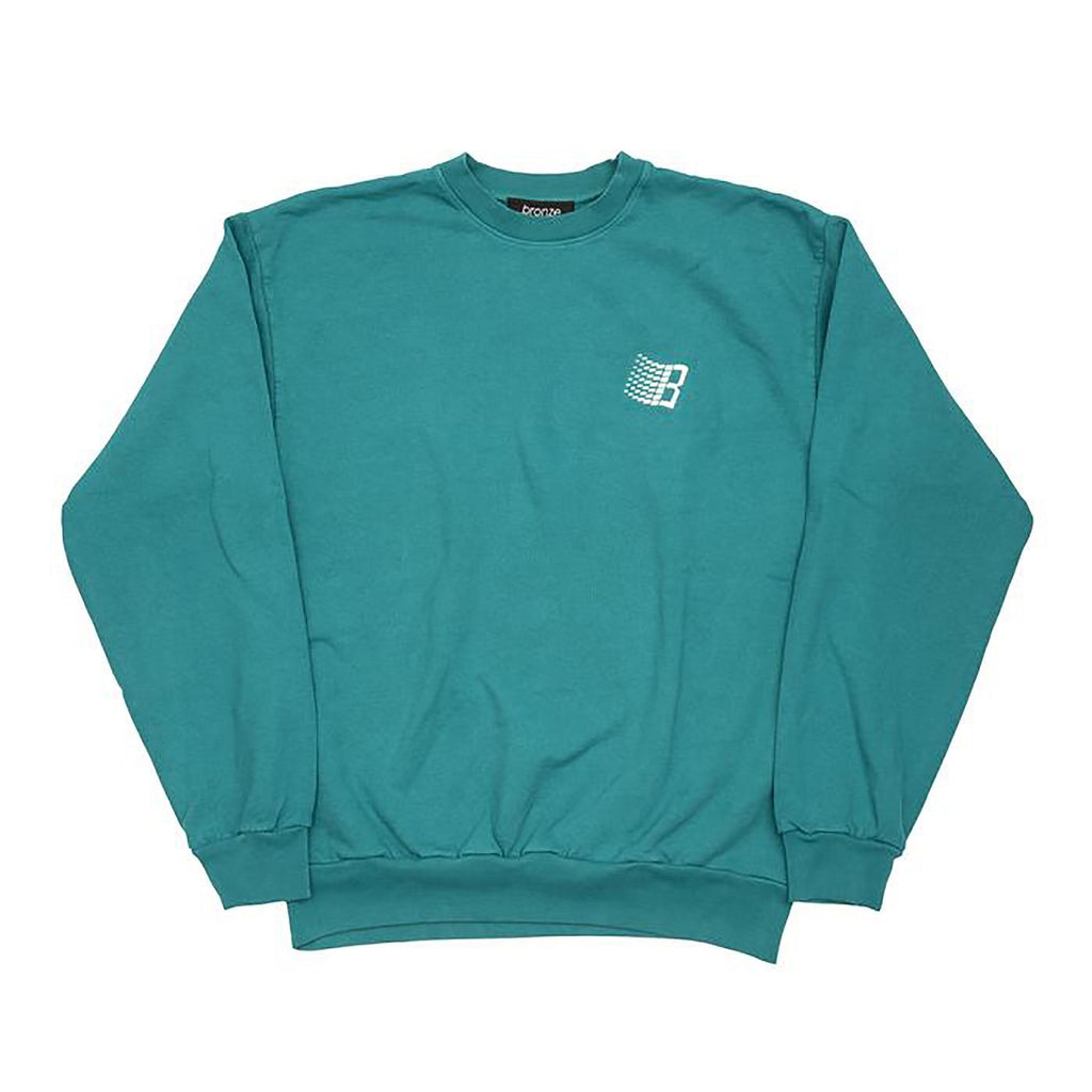 Bronze 56k Embroidered B Logo Crewneck in Teal