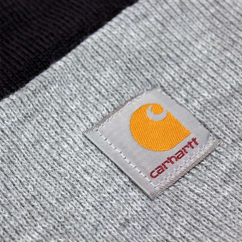 Carhartt WIP Bi-Colored Acrylic Watch Hat in Jet / Heather Grey - Label