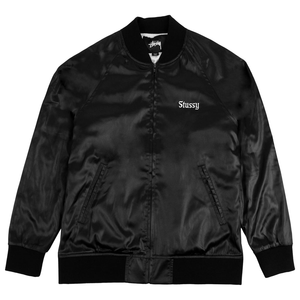 Stussy California Satin Jacket in Black - Front