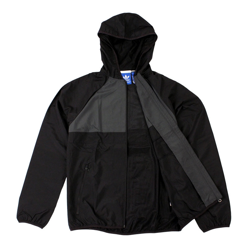 Adidas Skateboarding ADV Wind Jacket in Black/Solid Grey - Open