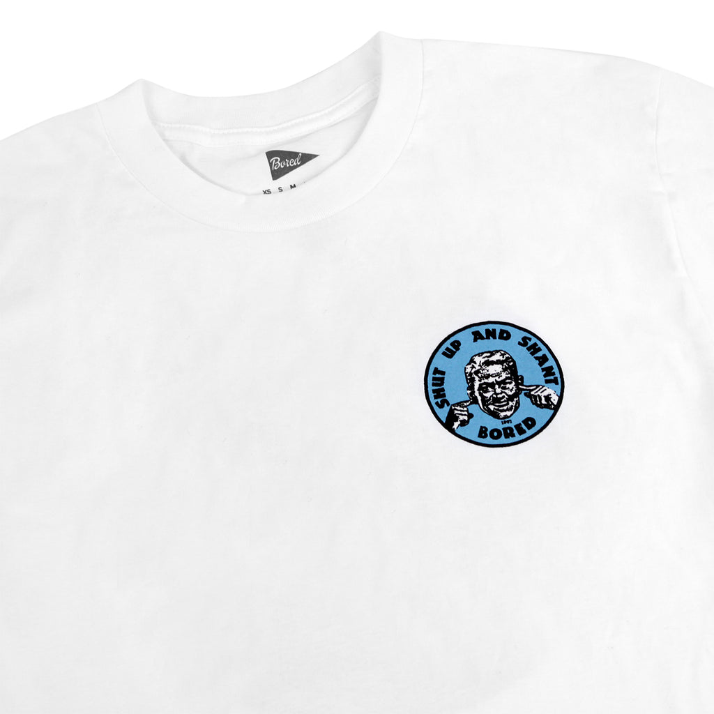 Bored of Southsea Shut up and Shant T Shirt in White / Blue - Detail
