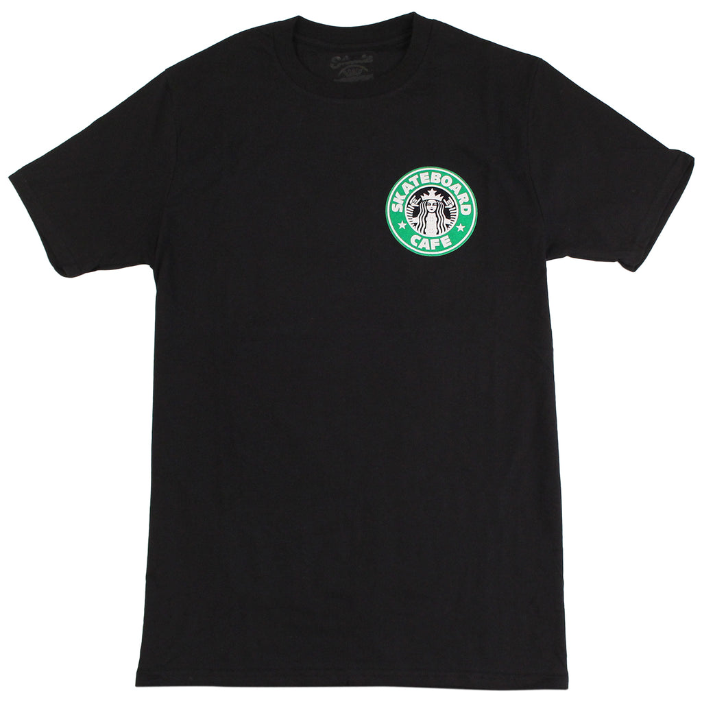 Skateboard Cafe Starfucks T Shirt in Black - Front