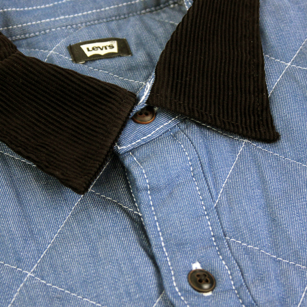 Levi's Skateboarding Collection Quilted Mason 2 Shirt in Chambray - Collar