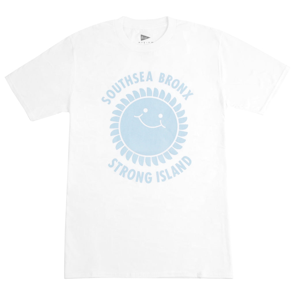Southsea Bronx Strong Island T Shirt in White / Pastel Blue