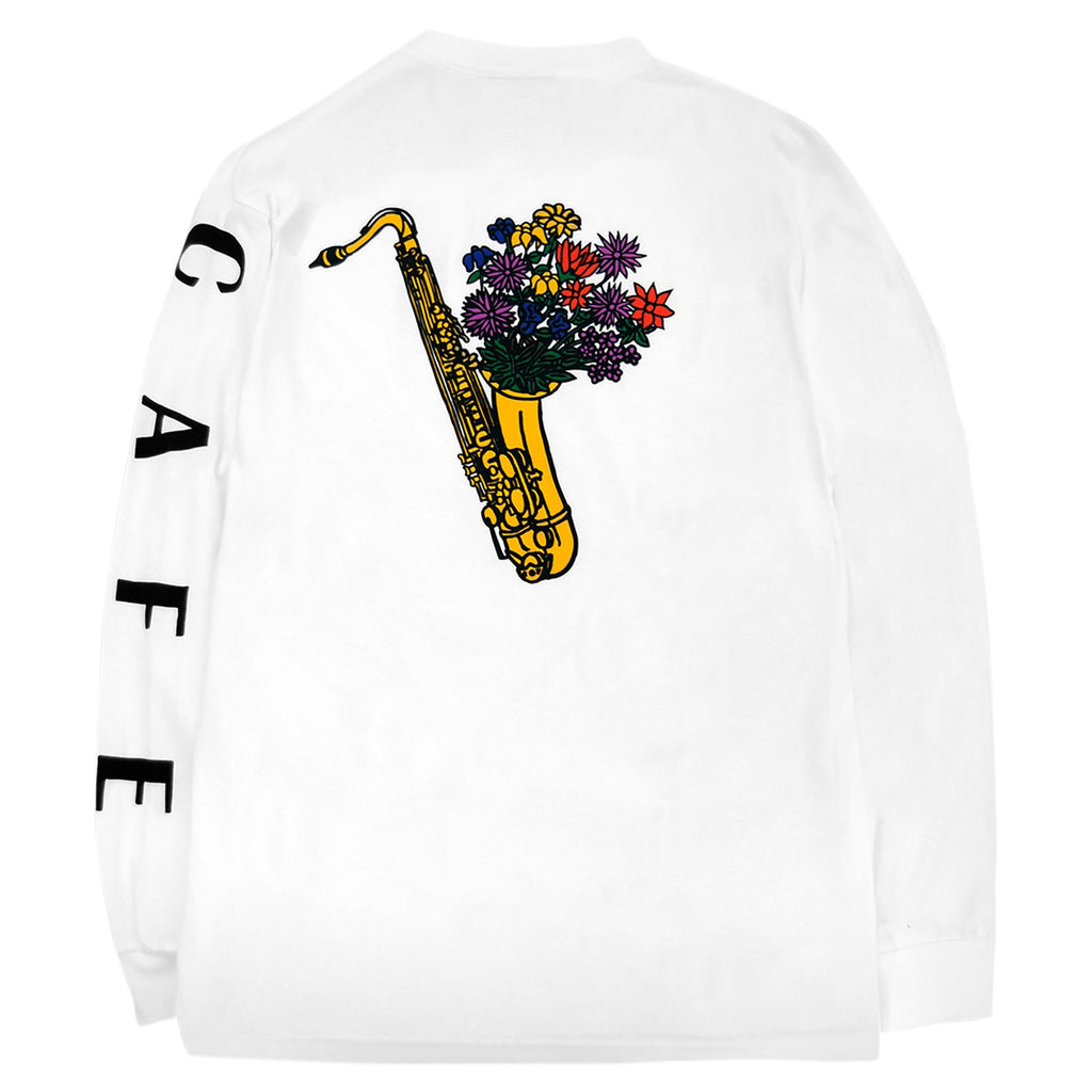 Skateboard Cafe Sax Flowers L/S T Shirt in White