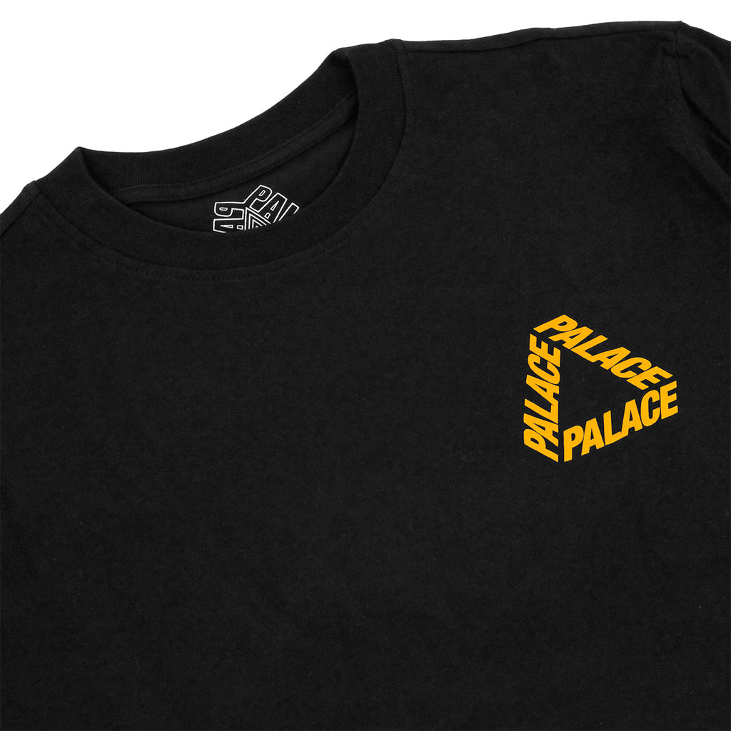 Palace P 3 L/S T Shirt in Black / Yellow - Detail