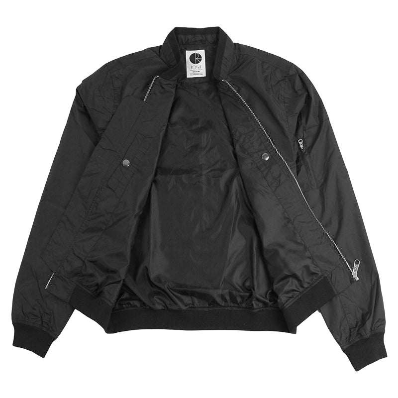 Polar Skate Co Fill Logo Chest Sporty Bomber in Black / Black - Open