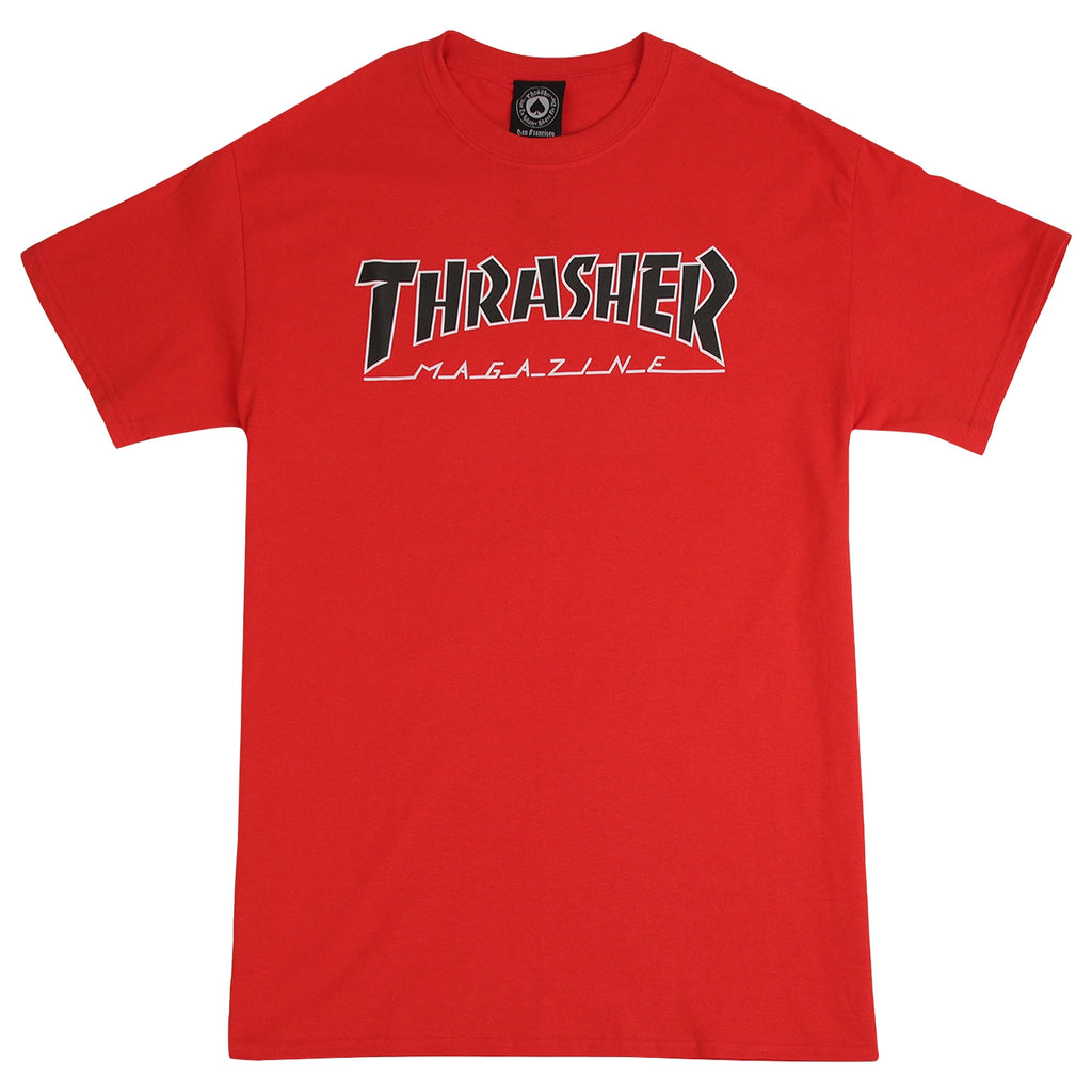Thrasher Outlined T Shirt in Red