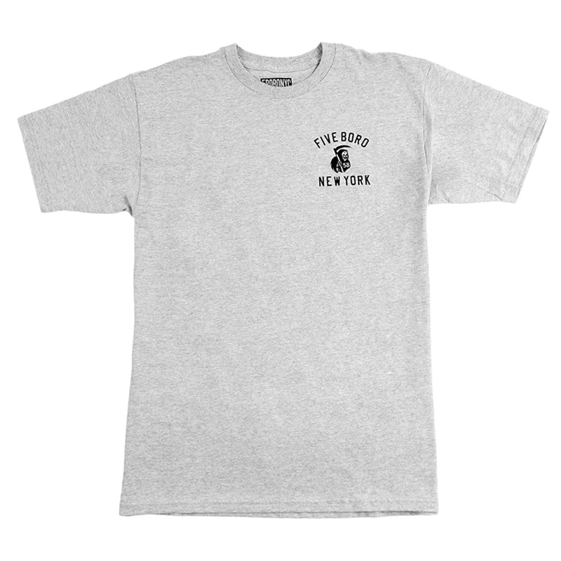 5BORO 5B REAPER II T SHIRT GREY HEATHER - Front
