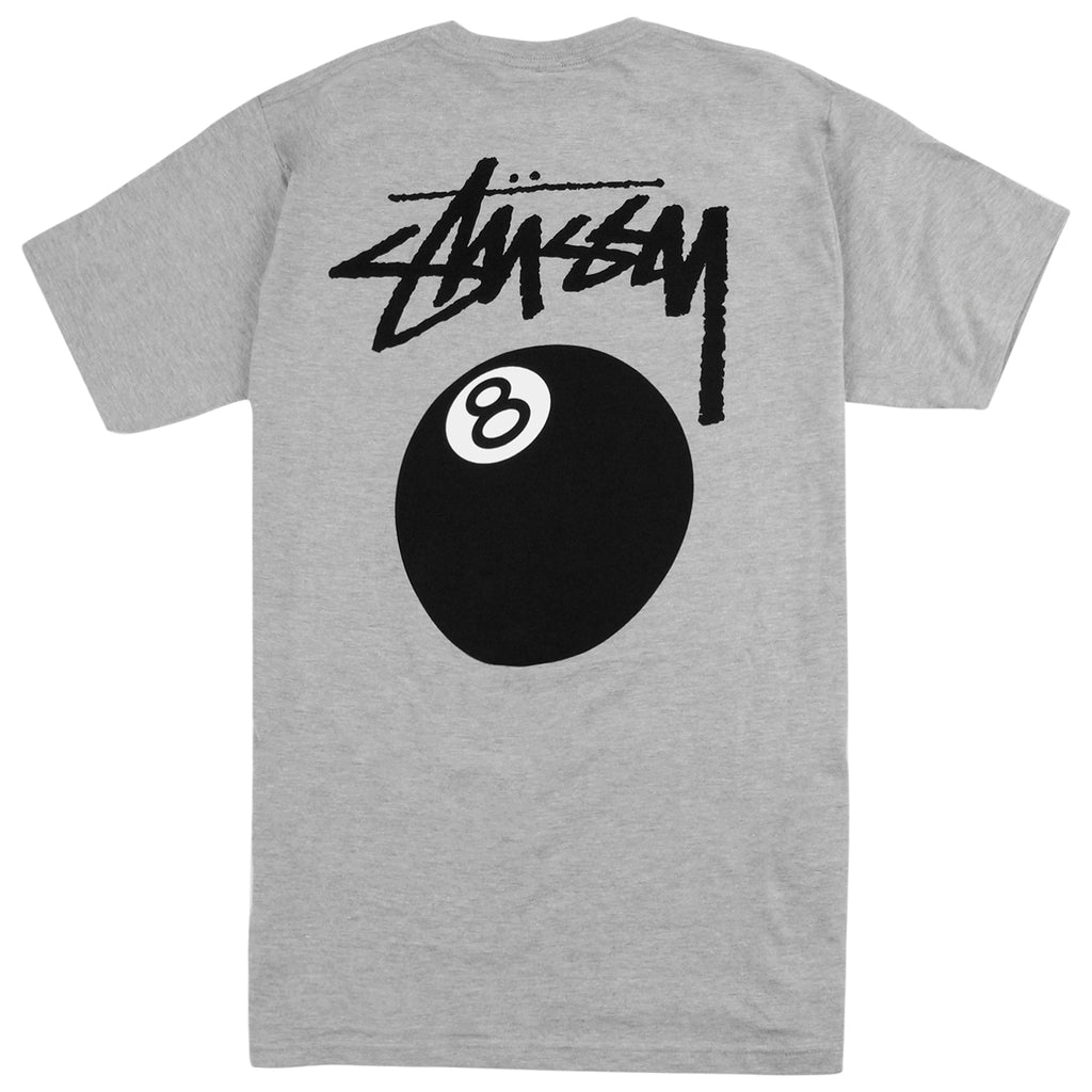 Stussy 8 Ball T Shirt in Grey Heather - Back print