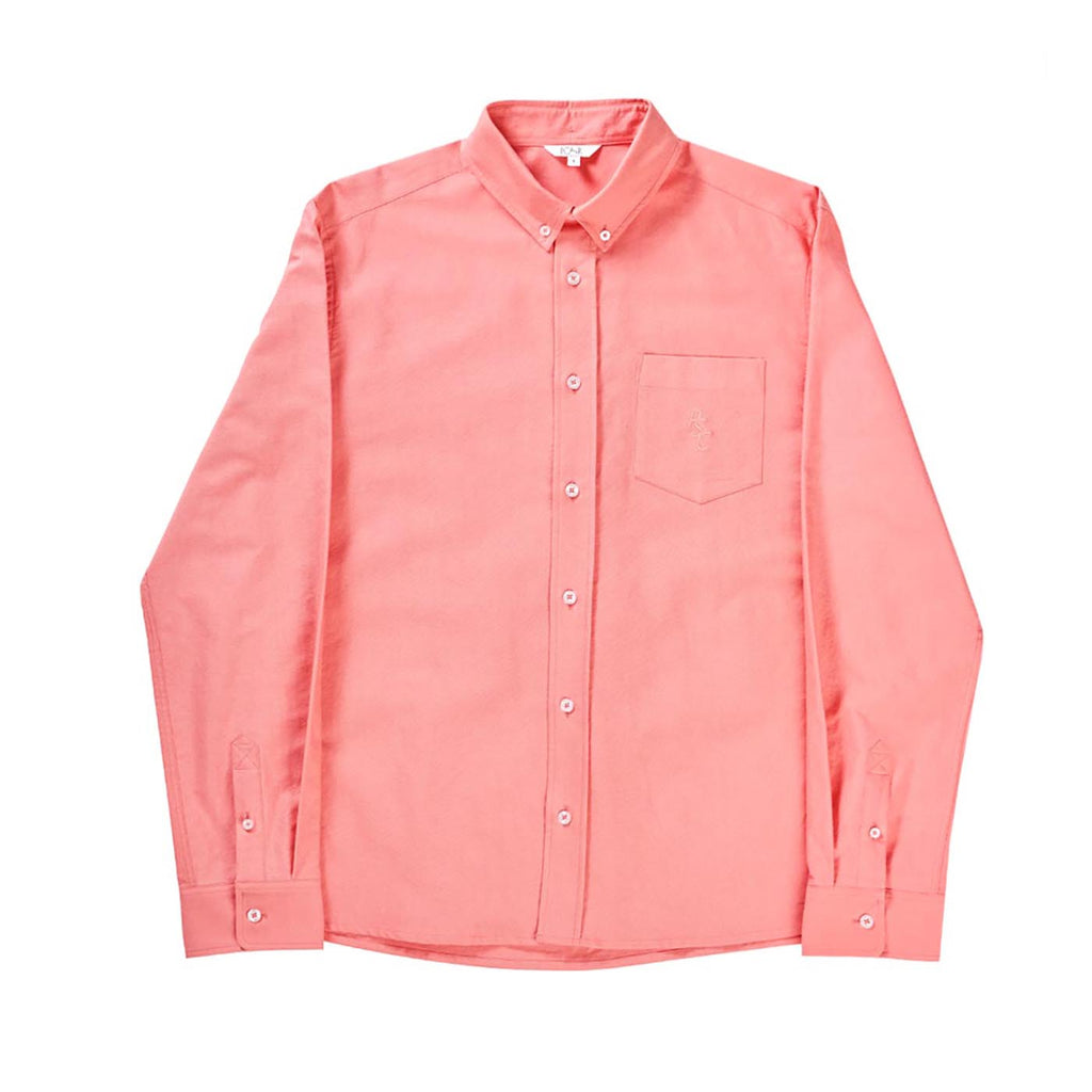 Polar Skate Co PSC Long Sleeve Oxford Shirt in Coral