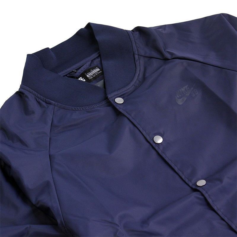 Nike SB Davis Satin Bomber Jacket in Obsidian - Collar