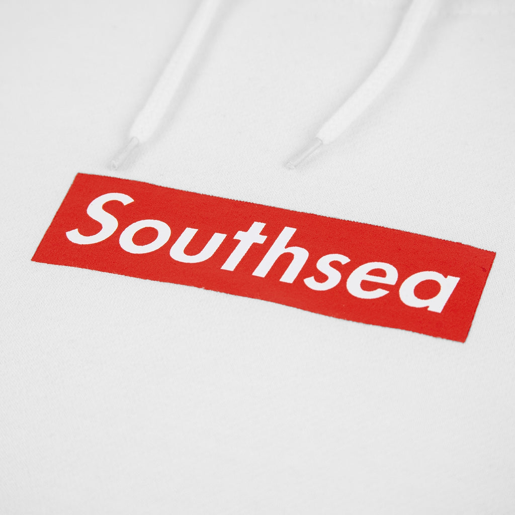 "Bored of Southsea ""Southsea"" Hoodie in White / Red Box - Print"