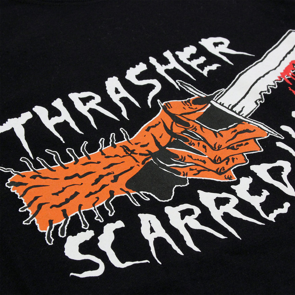 Thrasher Scarred 4 Life T Shirt in Black - Print