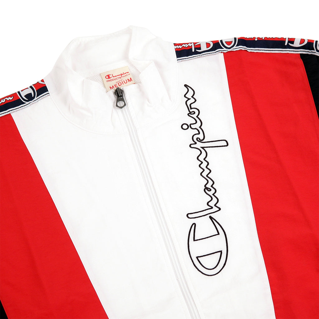 Champion Reverse Weave Taped Track Jacket in White / Red / Black - Detail