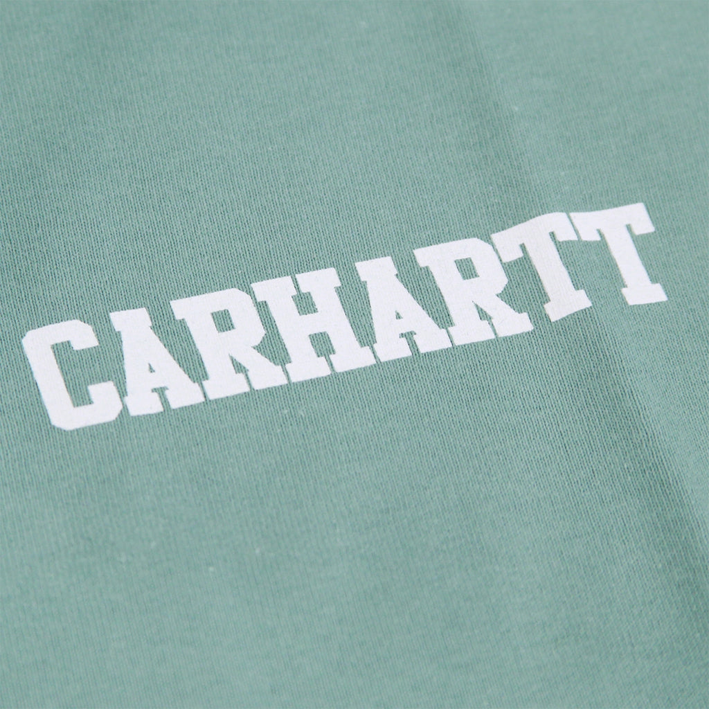 Carhartt College Script T Shirt in Soft Green / White - Print
