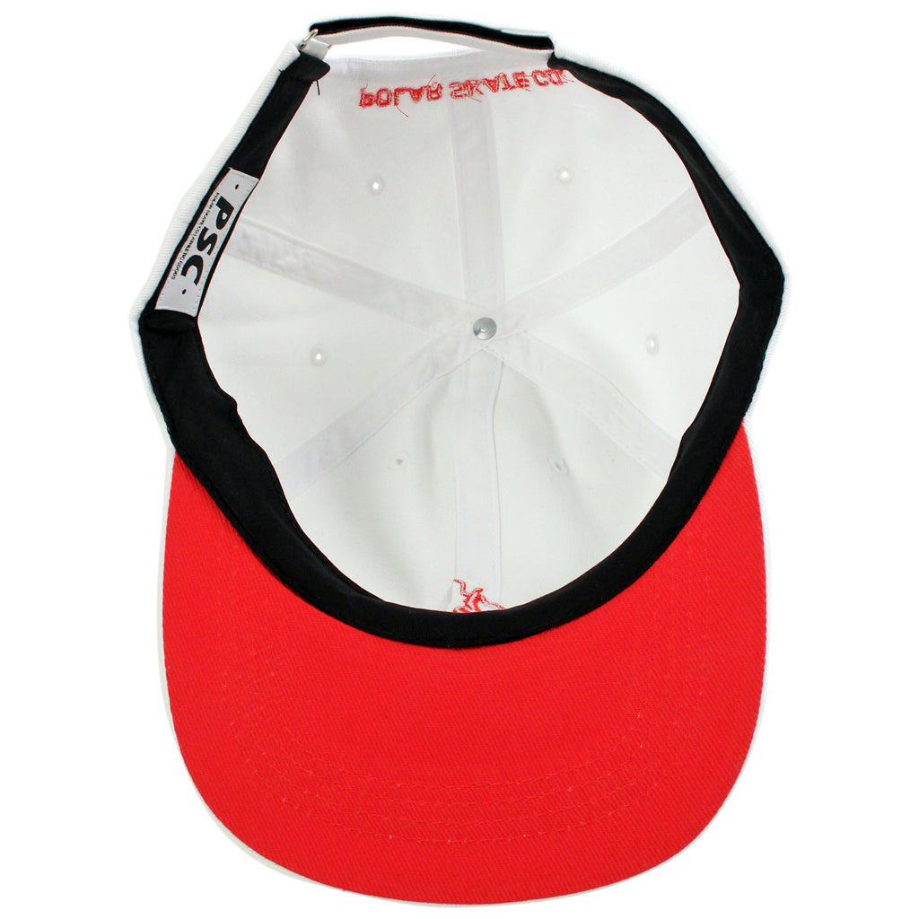 Polar Skate Co No Comply Cap in White / Red - Inside