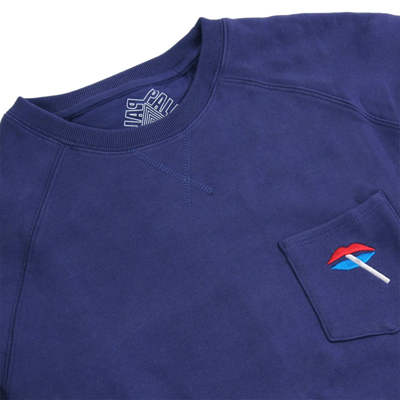 Palace Lips Pocket Crew in Blue - Front