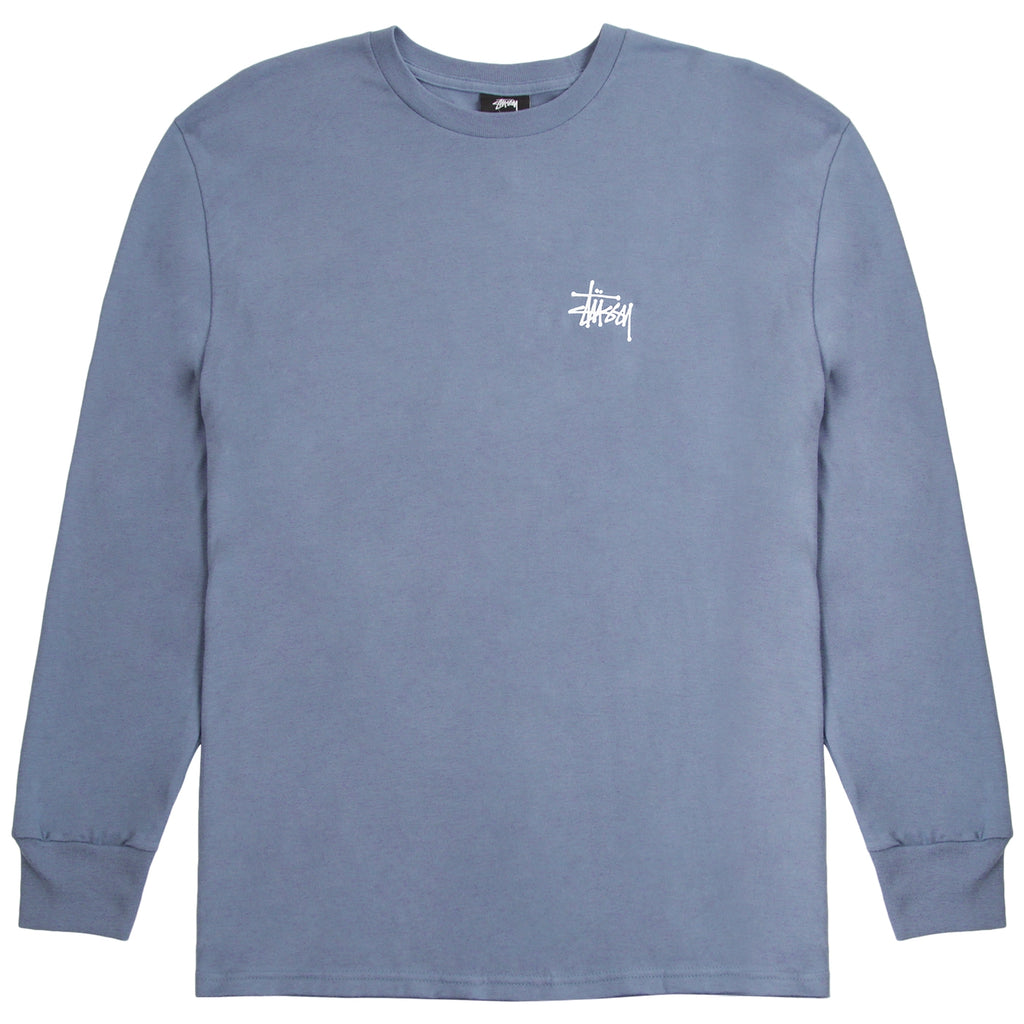 Stussy Basic Stussy L/S T Shirt in Steel - Front
