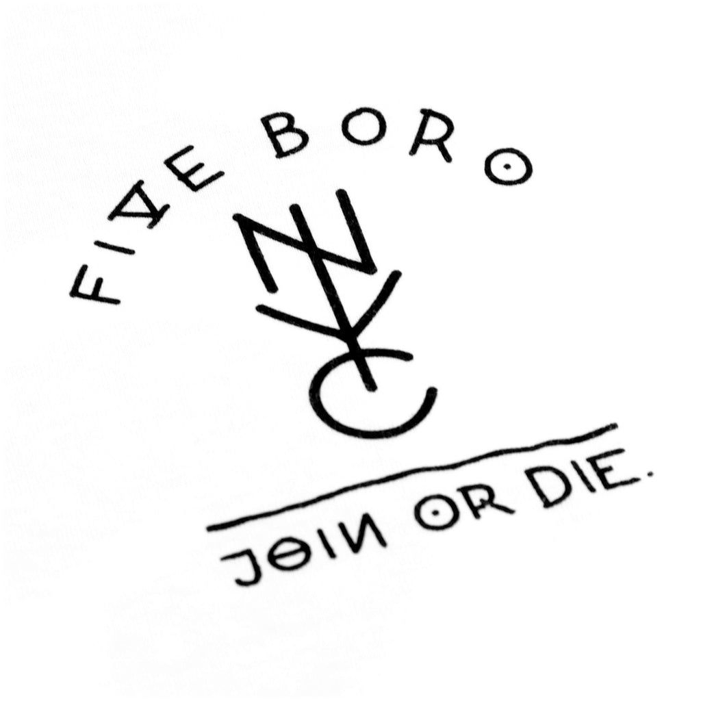 5Boro Join Or Die II T Shirt in White - Print